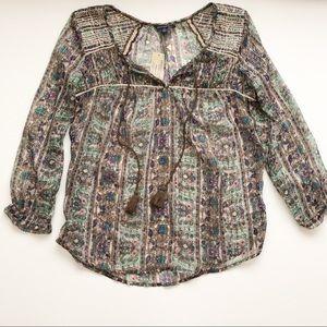NWT American Eagle sheer BoHo blouse